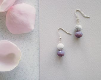 Fleur Purple and Marble beaded drop earrings.
