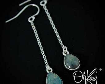 Silver Blue Labradorite Dangle Earrings - Long Drop Earrings - Labradorite Jewelry