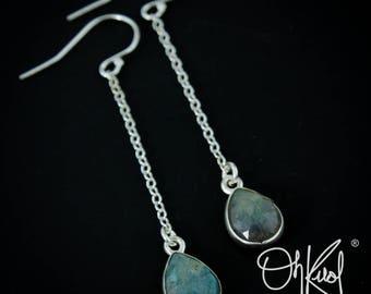 Silver Blue Labradorite Dangle Earrings - Long Drop Earrings - Labradorite Jewelry