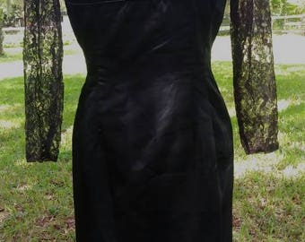 1950's Little Black Dress Black Satin and Lace Wiggle Dress