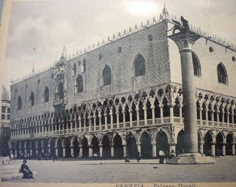 Vintage Venice - Doge's Palace - Palazzo Ducale 1928 duotone photo postcard - beautiful - gift for travelers, scrapbook Byzantine museum