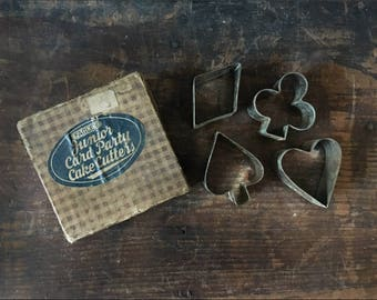 Vintage Card Suit Cake Cutters, Vintage Kitchen Toys, Fagley Junior Card Party Cake Cutters, Cooking For Kids, Poker Card Cutters
