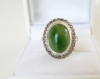 Vintage Art Deco Sterling Silver Jade and Marcasite Halo Oval Ring Size 6.5