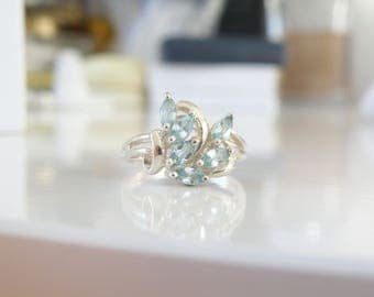 Vintage Sterling Silver 925 Genuine Blue Topaz Marquise Cut Cluster Petite Feminine Minimalist Ring Size 8