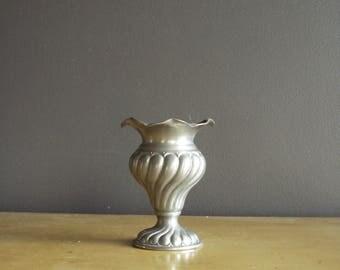 Just Shiny - Small Vintage Silver Vase - Peltro Pewter - Silver Bud Vase