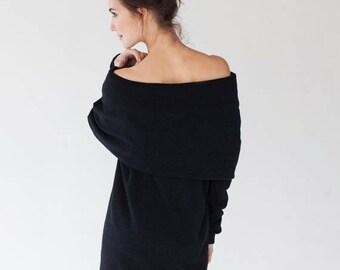 SALE - Maxi dress | Dark dress | Black wool dress | LeMuse maxi dress