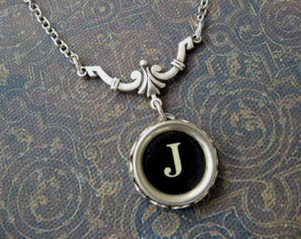 Typewriter Key Necklace - Simple Elegance - Letter J
