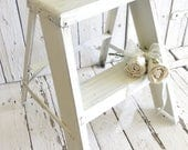 Vintage Step Ladder, Rustic Step Stool, White Stool, Shabby Ladder, Shabby and Chic, French Cottage Farmhouse, Pink Fleur De Lis Decor