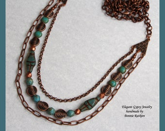 Handmade Elegant Gypsy Jewelry Copper 3 Strand Necklace Ancient Goddess Aqua Beads Copper Spiral Beads Lobster Clasp