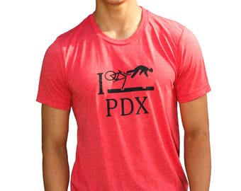 I Bike PDX| Soft Lightweight T shirt| Men's Unisex| Crew & V-neck| Crash PDX| Bicycle tees| Hometown tee| Portland Oregon| Travel tee.