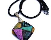 Dichroic Glass Pendant,Fused Glass Pendant,Glass Necklace, Dichroic Fused Glass Necklace, Teal, Magenta, Gold, Multi Colored