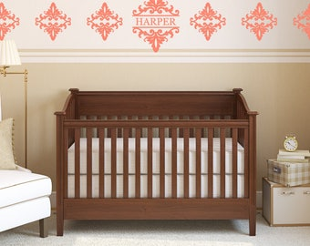 Damask Name Monogram Wall Decal, Set Of Damask Accents, Nursery Wall Decal,  Bedroom Part 32