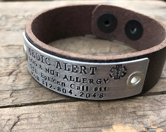 Custom Leather Medical Alert Leather Bracelet Medical Custom Made Diabetes Bracelet Allergy Etc
