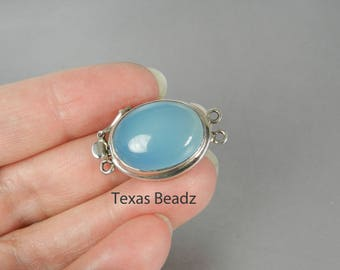 Box Clasp 2 Strand Sterling Silver Gemstone Clasp Ocean Blue Chalcedony Large Gemstone Jewelry Clasp