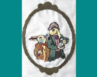 Sherlock Embroidered Art, Framed Victorian Rabbits, Holmes - Watson, Arthur Conan Doyle  Fiber Art Home Decor -The Bunnies of Baskerville