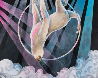 "Art Print- ""Aerial Destiny"" - sloth on a circus aerial hoop"
