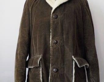 Vintage Men's Corduroy North Trail Jacket • 1970s 80s Vintage Brown Faux Sheep Skin Coat