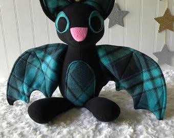 Black Plaid Bat Plush, White Bat Toy, Stuffed Bat
