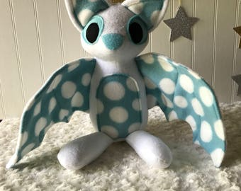 Blue Spotted Bat Plush, White Bat Toy, Stuffed Bat