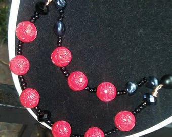 Red and Black Doublestrand Beaded Necklace
