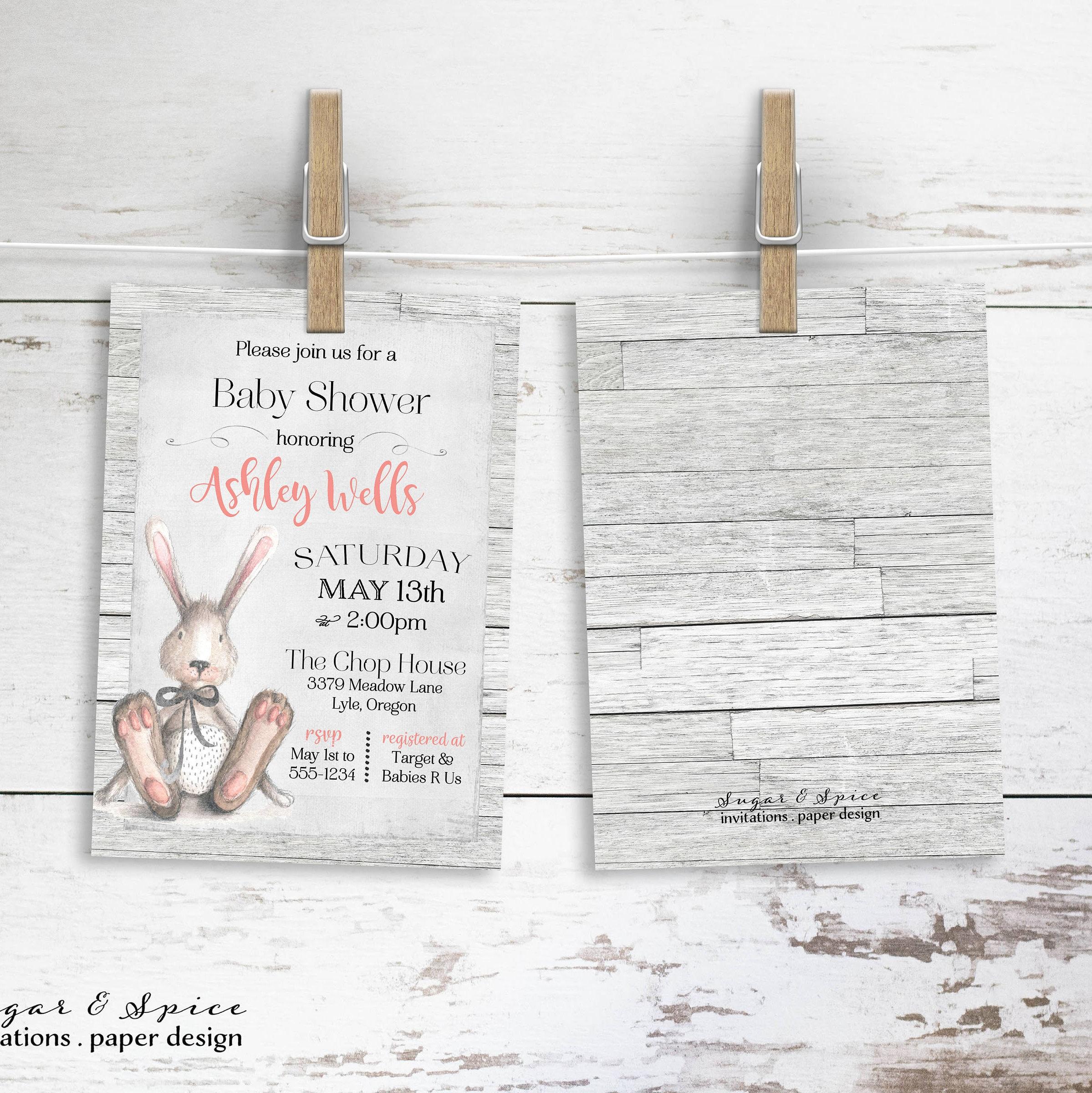 watercolor bunny baby invitations pin succulent modern shower invite invitation