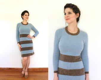 1960s Angora Knit Dress / 60s Dress / 1960s Mini Dress / 60s Brown and Blue Striped Soft Angora Wool Sweater Dress