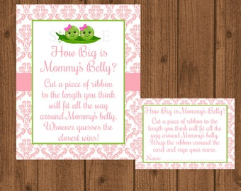 Two Peas in a Pod How Big is Mommy's Belly, Two Peas in a Pod Baby Shower, Mommy's Belly Baby Shower Game, Girl Baby Shower, Twins Shower