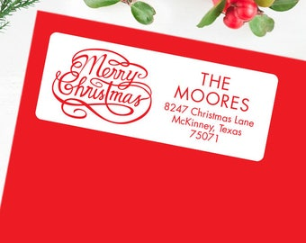 Christmas Address Labels - Merry Christmas Calligraphy - Sheet of 30