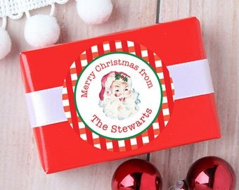 Christmas Stickers - Personalized Gift Labels - Vintage Watercolor Santa - Sheet of 12 or 24