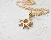 Tiny Gold Sun Necklace, Small Golden Sunshine Charm, Whimsical Boho Jewelry, Tribal Sun