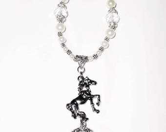 Wedding Bouquet Charm or Rearview Mirror Memorial Photo Crystal Horse Crystals Pearls Silver Metal Beads - FREE SHIPPING