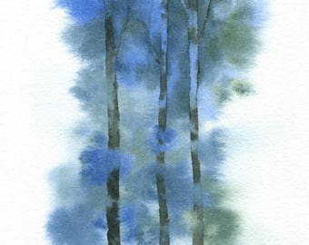ORIGINAL Blue Forest - Watercolor Painting