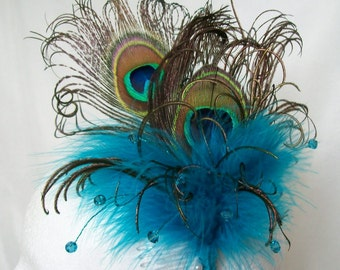 Turquoise Peacock Fascinator - Dark Cyan Blue Feather Crystal Burlesque Steampunk Wedding Fascinator Hair Comb Band - Made to Order