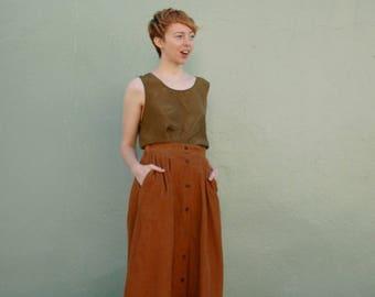 Silk Shirt... Long Silk Shirt... Silk Tank Top... Silk Tunic Shirt... 90s Silk... Top... Shirt... Copper Color