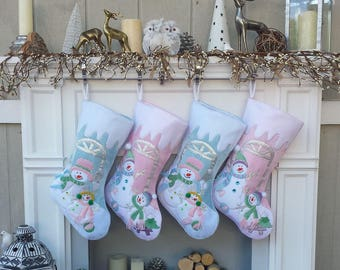 Children's Large Christmas Snowman Personalized stocking with Melting Ice Cuff