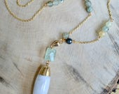 Grey and White Agate Barrel Necklace with Prehnite Gemstones. Long gold pendant necklace.