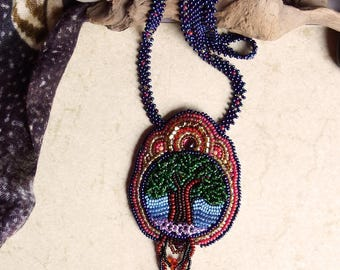 Handmade seed bead and garnet necklace