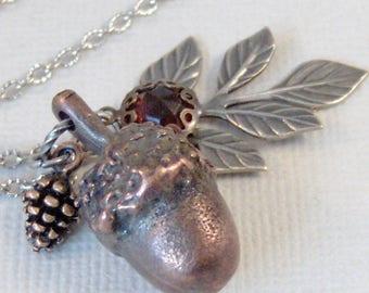 Acorn Forest,Acorn Necklace,Garnet Jewelry,Pinecone Necklace,Tree Necklace,Fall Necklace,Garnet Necklace,Woodland,Wedding,valleygirldesigns