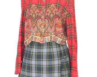 90s Top * Plaid Crop Top * Vintage Blouse * Large