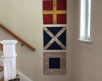 Wood 12 Inch Nautical Flags. Custom Nautical Flags. Nautical Gallery Wall  Art. Nautical