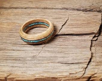 White Oak & Mahogany Wood Ring with Crushed Turquoise Gemstone - Size 8 U.S.