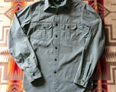 RRL Salt & Pepper Mock Twist Chambray Double Yoke WORK SHIRT xs extra small Ralph Lauren rl 1930's style workwear