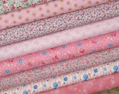 50% Off! Weekly Special & Free Shipping! Pretty in Pink Bundle of Eight Fat Quarters, Cotton Quilt Fabric Bundle, Fat Quarter Bundle