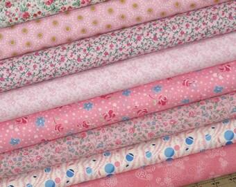 Pretty in Pink Bundle of Eight Fat Quarters, Cotton Quilt Fabric Bundle, Fat Quarter Bundle