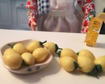 Miniature Lemons, 12 Pieces, 1 Dozen Lemons With Stems, Dollhouse Miniature Food, 1:12 Scale, Dollhouse Accessories, Decor, Mini Fruit