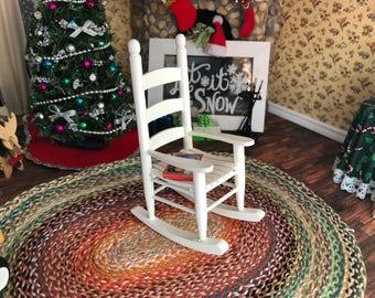 Miniature Rocking Chair, White Wood Rocker, Cabin Style Rocking Chair, Dollhouse Miniature Furniture, 1:12 Scale, Dollhouse Rocker