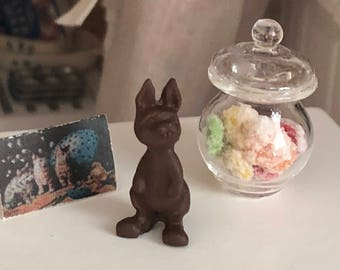 Miniature Standing Bunny, Chocolate Easter Bunny, Easter Decoration, Dollhouse Miniature, 1:12 Scale, Dollhouse Accessory, Decor, Crafts