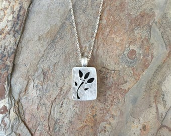 Fine Silver Box Necklace with Flower Cut Out. Handmade Jewelry for Charity. NS13