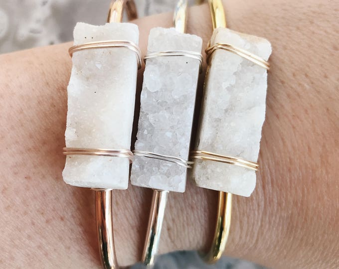 Featured listing image: Drusy Quartz Agate Slice Gemstone Bangle Bracelet Handmade by Rana Salame in Indiana Crystal Bracelet Rose Gold Wire Wrapped Quartz  Cuff