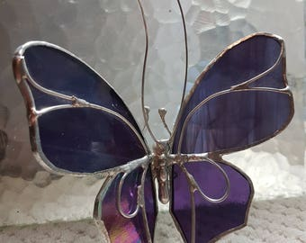 Purple Iridescent  and Purple Streaky Stained Glass Butterfly Hanging or Standing Suncatcher Transformation